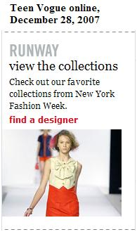 Teen Vogue sidebar: Runway box