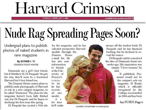 New magazine 'Diamond' planned at Harvard