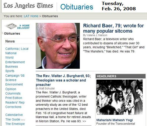 LA Times obits 2/26/08: Dead sitcom writer, dead guru, dead jesuit