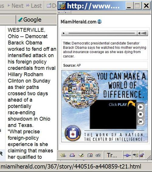 Detail of Tom Raum Obama-Clinton story and associated Miami Herald CIA ad