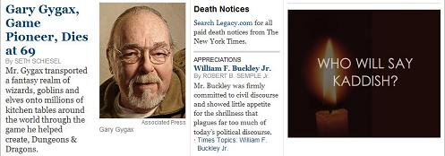 NY Times obituaries online, March 5, 2008: Gary Gygax, Wm. F. Buckley, Kaddish ad by Hadassah