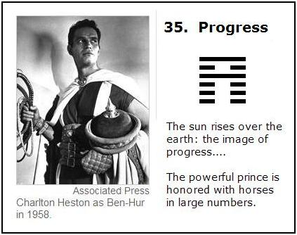 A Hexagram for Charlton Heston-- Number 35: The sun rises above the earth