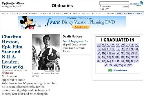 Charlton Heston as Ben-Hur in the New York Times online obituaries, morning of April 6, 2008