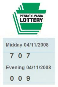 PA Lottery 4/11/08: mid-day 707, evening 009
