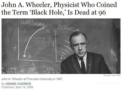 Physicist John A. Wheeler with diagrams of classical and quantum ways to get from point A to point B