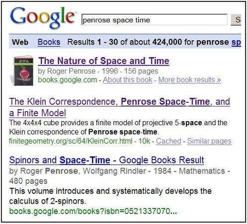 April 29, 2008, Google search on 'penrose space time'