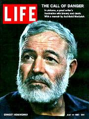 Hemingway on the cover of LIFE magazine, 1961
