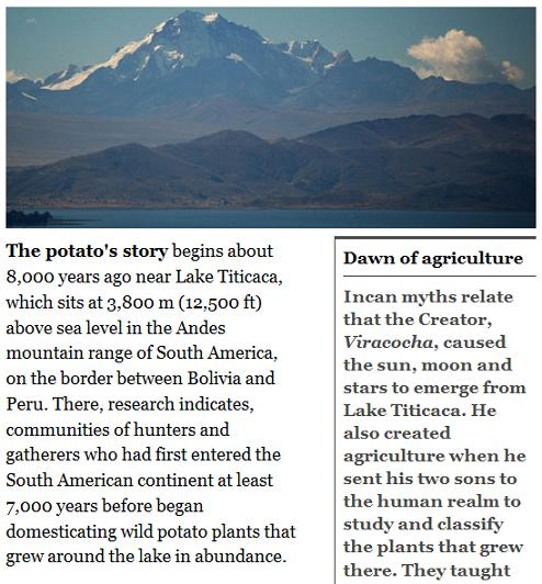 Lake Titicaca-- Origin of the potato and, some say, of The Crystal Skull