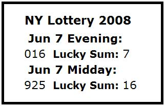 NY Lottery June 7, 2008: Mid-day 925, Evening 016
