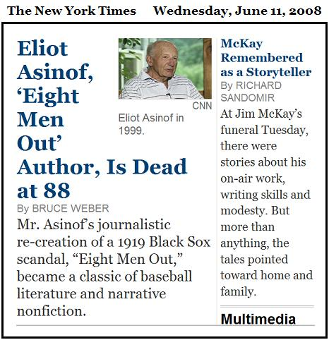 NYT obituary of sports author Eliot Asinof and story of sports broadcaster Jim McKay's memorial