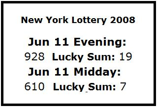 NY Lottery June 11, 2008: mid-day 610, evening 928