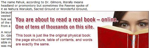 Questia.com book containing Pawnee word 'Pahuk' with 'You are about to read a real book-- online'  ad overlay