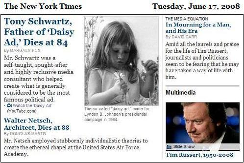 NY Times obituaries, Tuesday, June 17, 2008-- Tony Schwartz, Walter Netsch, Tim Russert