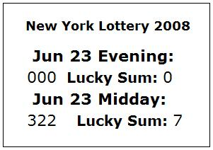 NY Lottery June 23, 2008: Mid-day 322, Evening 000