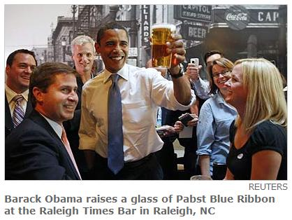 Barack Obama hoists a Pabst at the Raleigh Times Bar in Raleigh, North Carolina, on May 6, 2008