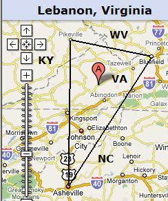 Map of Lebanon VA in relation to Bluefield WV, Pikeville KY, and Asheville NC