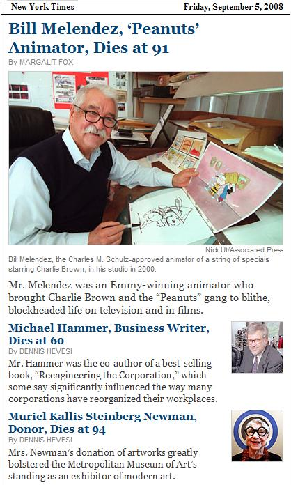Bill Melendez, Peanuts animator, in NYT obituaries Friday, Sept. 5, 2008