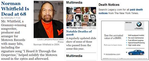 NY Times obituaries, Sept. 19, 2008, starring Norman Whitfield