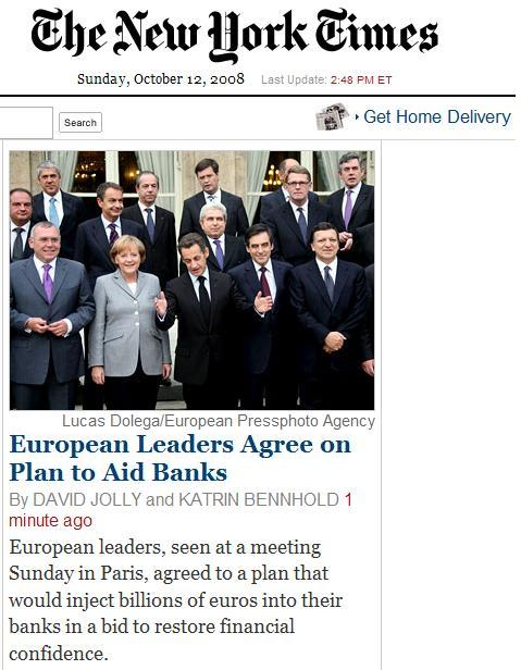 European leaders in Paris agree on plan to aid banks