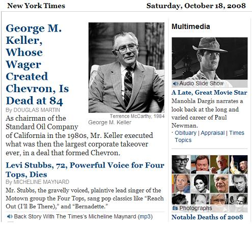 NY Times obituaries Saturday, Oct. 18, 2008