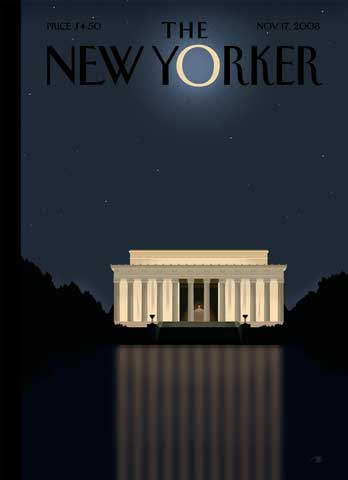 New Yorker cover, moon over Lincoln Memorial, issue dated Nov. 17, 2008