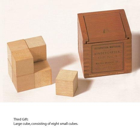 Froebel's third gift, the eightfold cube