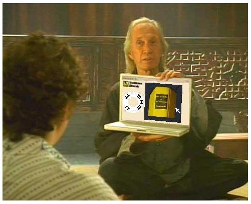 David Carradine displays a yellow book-- the Princeton I Ching.