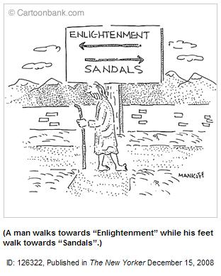 Cartoon sign-- enlightenment one way, sandals the other