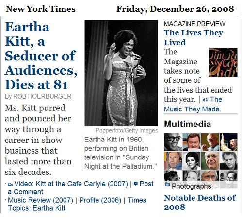Eartha Kitt in NYT obituaries, Dec. 26, 2008