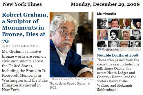 Robert Graham obituary, NY Times, 12/29/08