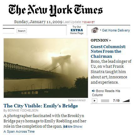 NY Times front page, Sunday morning, Jan. 11, 2009: Brooklyn Bridge and Sinatra