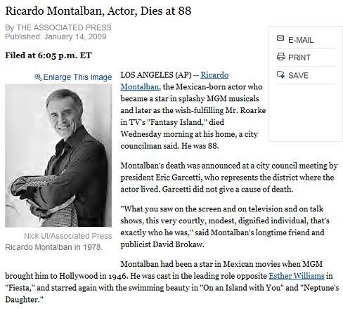 Ricardo Montalban, d. Jan. 14, 2009-- NY Times