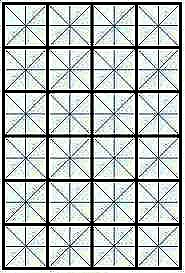 Designer's grid-- 6x4 array of squares, each with 4 symmetry axes