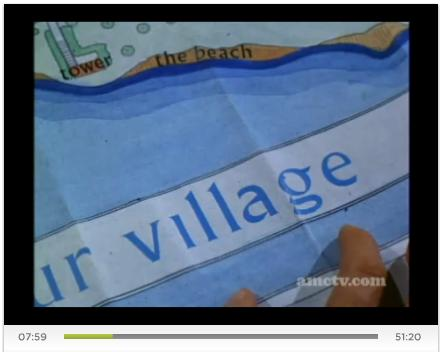 'The Prisoner,' Episode One, frame at 7:59, map of The Village
