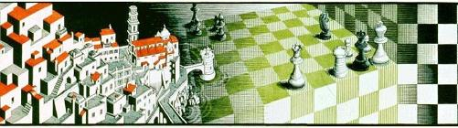 Escher's 'Metamorphose III,' chessboard endgame
