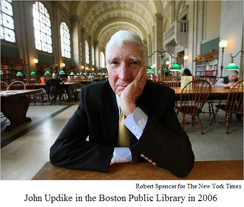 John Updike at Boston Public Library, 2006, photo by Robert Spencer for The New York Times