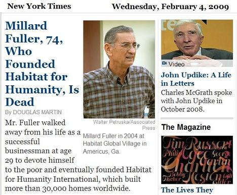 Millard Fuller and John Updike in the New York Times obituaries
