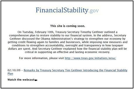 FinancialStability.gov site at 7 p.m. ET Feb. 10, 2009