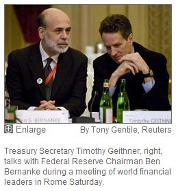 Bernanke and Geithner at Rome G7 on Valentine's Day