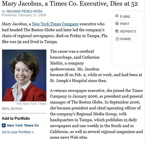 New York Times executive Mary Jacobus dies at 52