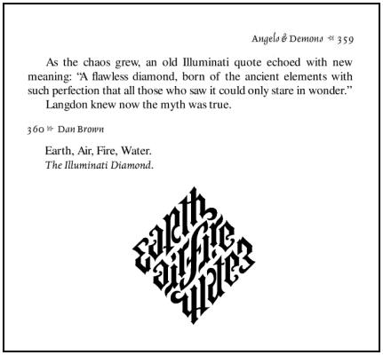 Illuminati Diamond, pages 359-360 of 'Angels & Demons,' Simon and Schuster, 2000, ISBN-10 0743412397