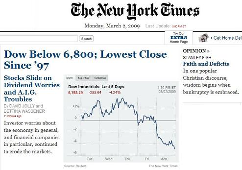 NY Times online front page, 5 PM March 2, 2009-- graph of stock market plunge