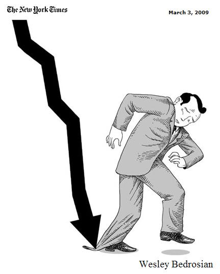 Descending financial graph's arrow strikes man's pants cuff, immobilizing him