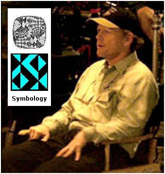 Director Ron Howard with illustration of the fictional discipline 'symbology'