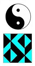 Diamond Theory version of 'The Square Inch Space' with yin-yang symbol for comparison
