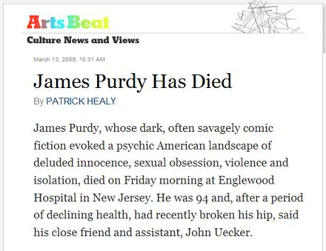 NY Times: James Purdy Has Died