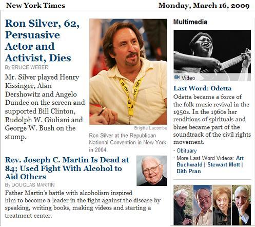 NY Times obituaries Monday, March 16, 2009