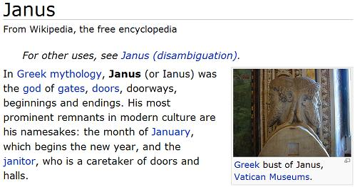 The Roman god Janus, from Wikipedia