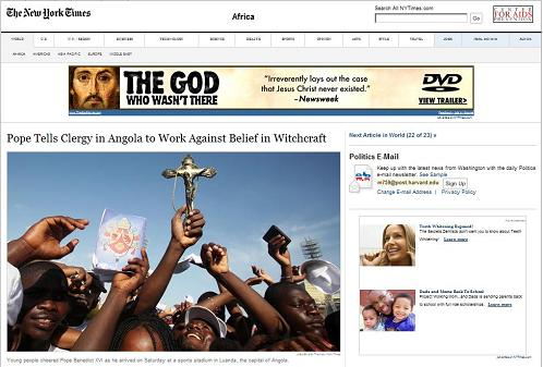 NY Times  online March 21, 2009: Pope in Angola tells clergy to work against belief in witchcraft