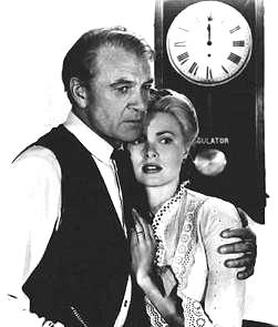 Gary Cooper, Grace Kelly, and clock in 'High Noon'
